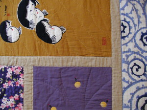 hand-quilted with perl cotton