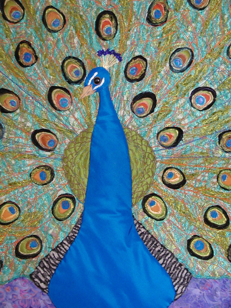 Blue satin peacock